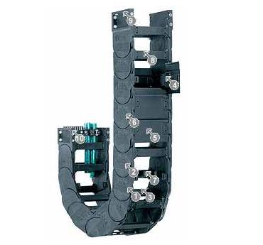 15150系列——拖鏈,可在兩側扣開,每兩個鏈節有橫桿
