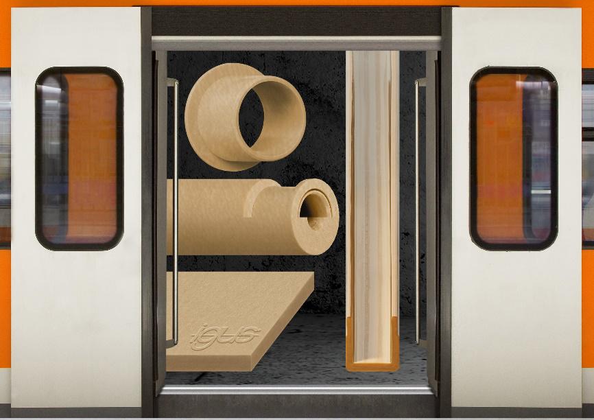 用于鐵路技術的 igus 阻燃工程塑料原料棒