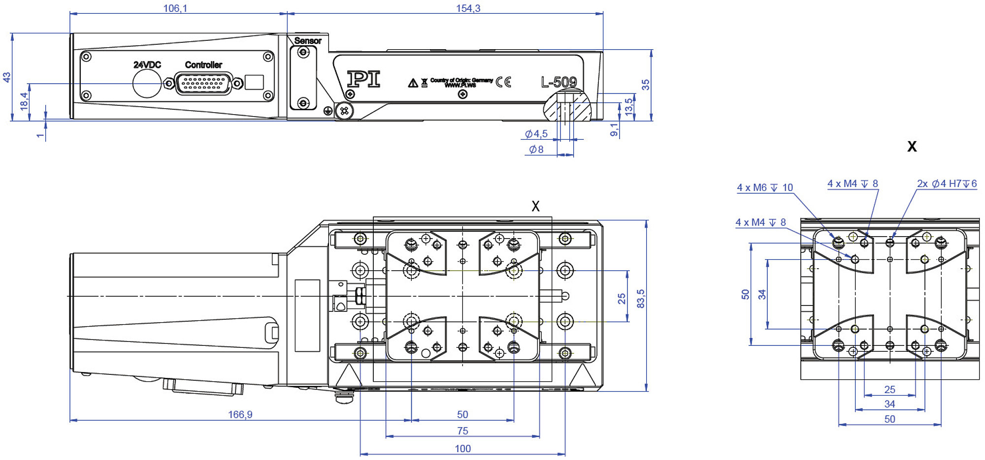 L-509 V6 • V7 • V9 Precision Linear Stage Suitable for Vacuu