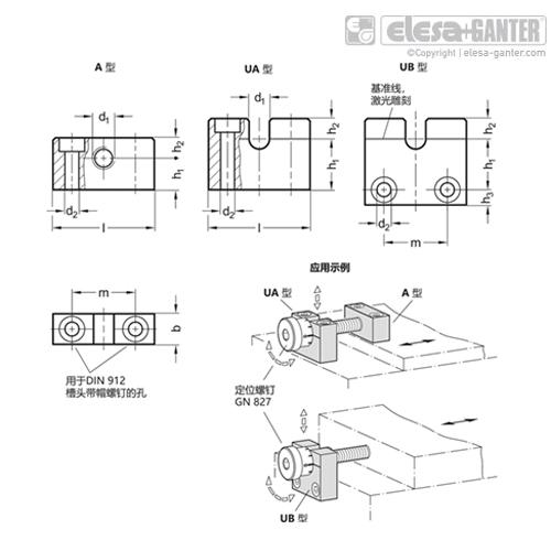 伊莉莎 GN 828 轴承座 用于不锈钢调整螺钉 GN 827