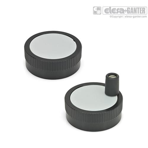 伊莉莎 GN 736.1 带刻度凸缘的控制手轮 铝制,黑色,阳极氧化处理