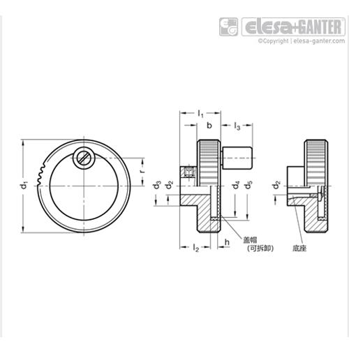 伊莉莎 GN 736 控制手轮 铝制,黑色,阳极氧化处理