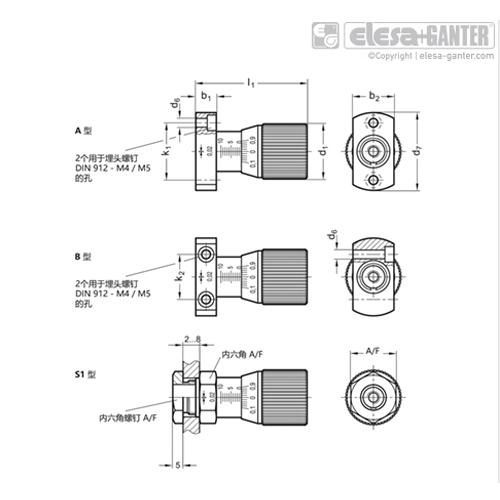 伊莉莎 GN 727 带可调节轴的控制旋钮