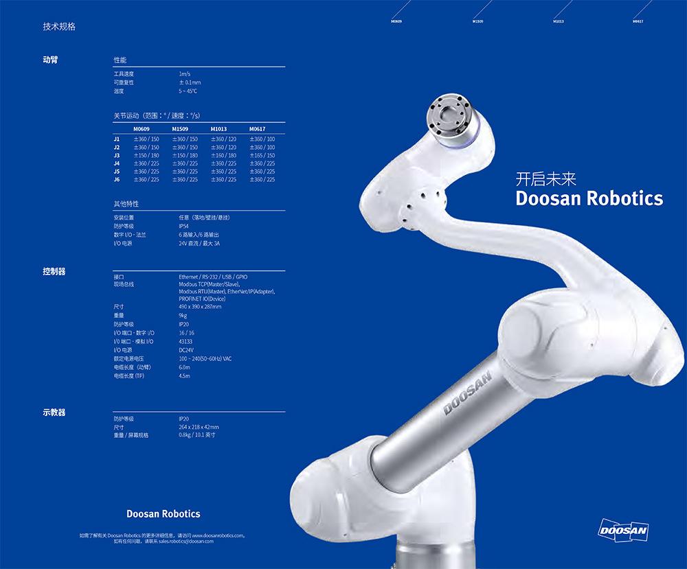 Doosan Robotics 斗山協作機器人M系列--M0609/M1013/M0617/M1509