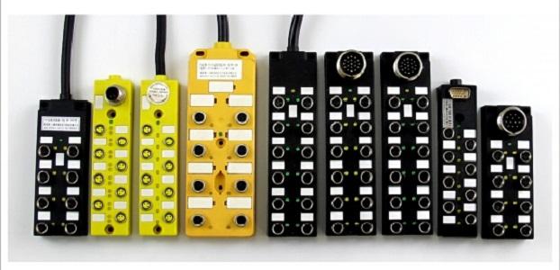 M12分线盒,8端口16点M12总线I/O分线盒 直出线PNP型,NPN型