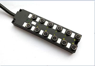 M8多口传感器分线盒PNP,NPN型直出线I/O分线盒 8口座16座