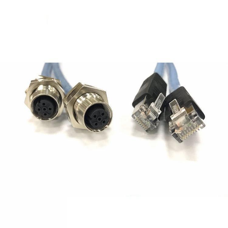科迎法电气D编码M12 4芯工业以太网连接器转接RJ45